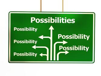 road sign showing all the possible ways to go