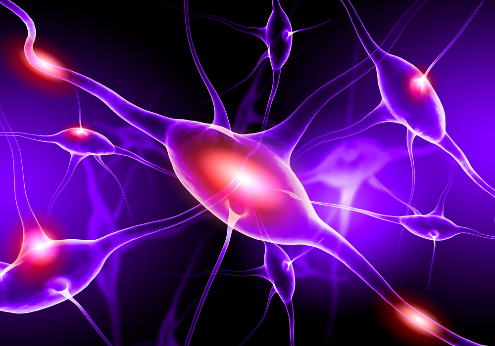 Illustration of a nerve cell on a colored background with light effects-1