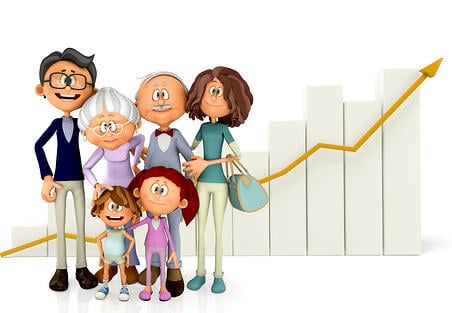 3D Family with a growth graph - isolated over a white background-1