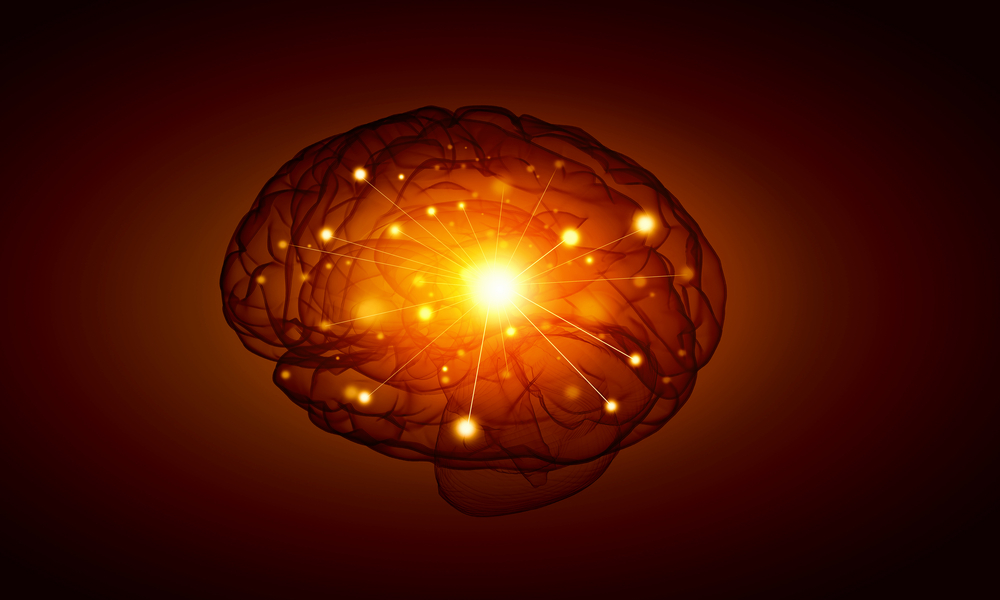 Concept of human intelligence with human brain on black background-1