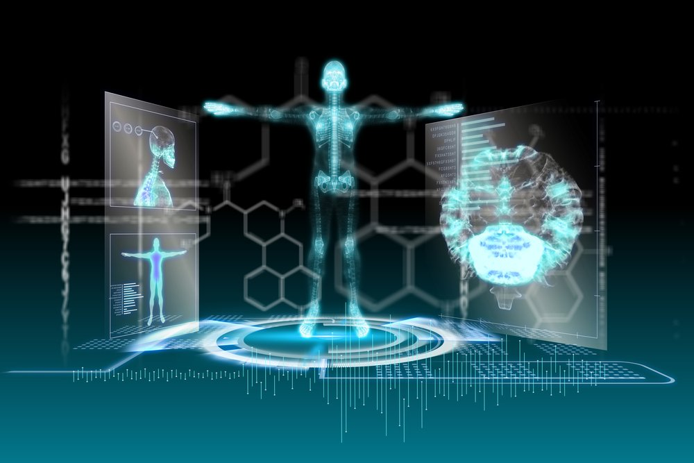 Digitally generated medical interface in blue and black