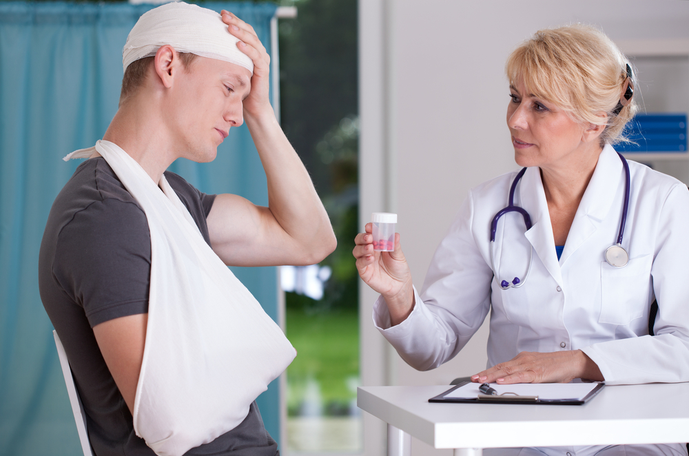 Physician giving to patient pills for headache-1