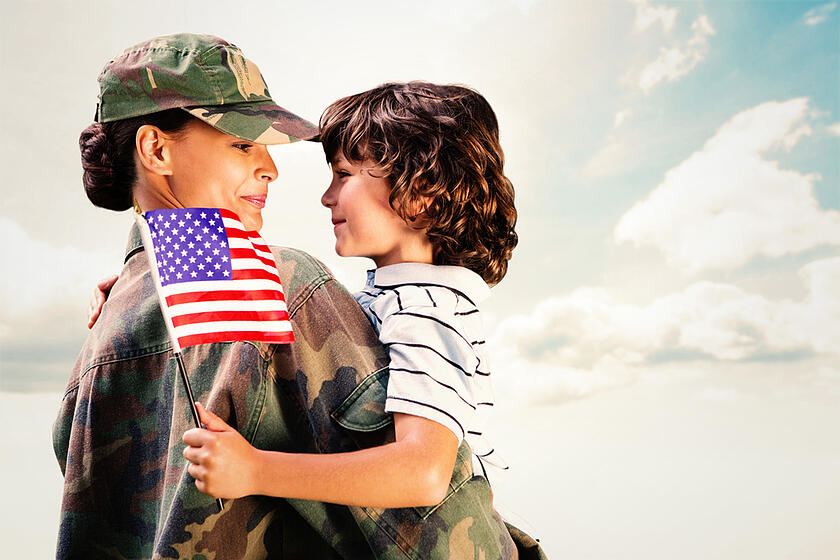 Solider reunited with son against blue sky-1