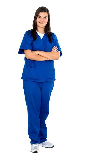 friendly female nurse isolated over a white background